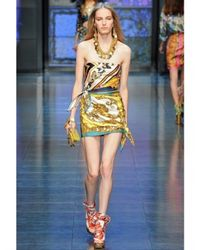 Dolce & Gabbana - Multicolor Denim Back and Printed Silk Dress - Lyst
