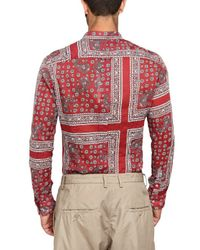 Dolce & Gabbana | Red Bandana Style Print Cotton Gauze Shirt for Men | Lyst