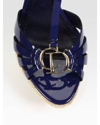 Dior - Black Cd2 Patent Leather T Strap Platform Sandals - Lyst