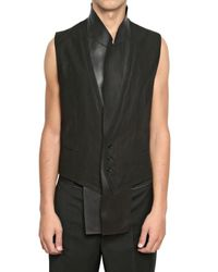 Dior Homme | Black Leather Revere Wool Toile Vest for Men | Lyst
