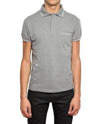 Dior Homme - Gray Bee Embroidered Piquet Cotton Polo for Men - Lyst