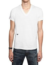 Dior Homme - White Bee Embroidered V Neck Jersey T-shirt for Men - Lyst