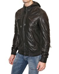 Dolce & Gabbana | Gray Washed Nappa Hooded Leather Jacket for Men | Lyst