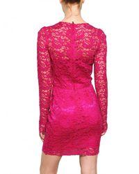 Dolce & Gabbana | Pink Viscose Lace Dress | Lyst