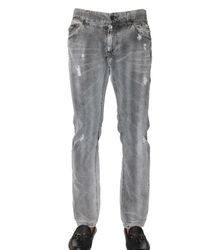 Dolce & Gabbana | Gray 19cm Distressed Denim Gold Fi Jeans for Men | Lyst
