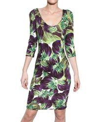 Dolce & Gabbana - Multicolor Aubergine Print Viscose Cady Dress - Lyst