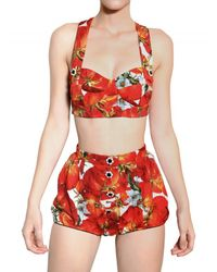 Dolce & Gabbana | Red Jewelled Tomato Print Brocade Bra | Lyst