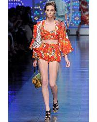 Dolce & Gabbana | Multicolor Jewelled Tomato Print Brocade Shorts | Lyst