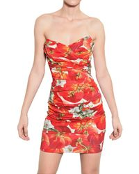 Dolce & Gabbana | Multicolor Strapless Tomato Silk Charmeuse Dress | Lyst