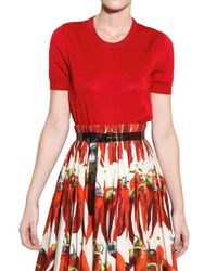 Dolce & Gabbana | Red Silk Knit Top | Lyst
