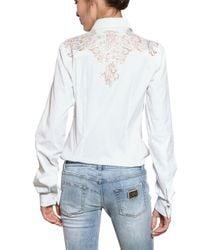 Dolce & Gabbana | White Lace Insert Cotton Poplin Shirt | Lyst