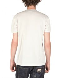 Dolce & Gabbana | White Logo Metal Plaque Melange Jersey T-shirt for Men | Lyst