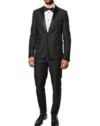 DSquared² - Black Faille Wool Slim Fit Tuxedo Suit for Men - Lyst