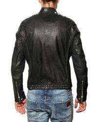 DSquared² | Black Studded Biker Style Leather Jacket for Men | Lyst