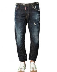 DSquared² | Blue 18cm Studded Denim Biker Jeans for Men | Lyst
