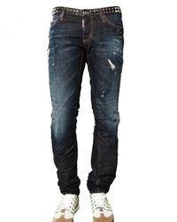 DSquared² | Blue 19cm Studded Denim Slim Fit Jeans for Men | Lyst