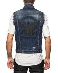 DSquared² | Blue Denim and Leather Eagle Patch Vest for Men | Lyst