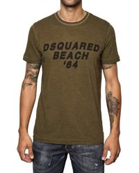 DSquared² | Green Cotton Linen Dsquared Beach T-shirt for Men | Lyst