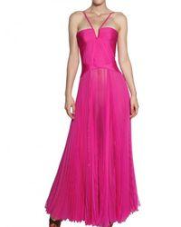 DSquared² - Purple Pleated Silk Chiffon Long Dress - Lyst