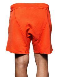 DSquared² - Orange Cracked Print Cotton Fleece Sweat Shorts for Men - Lyst