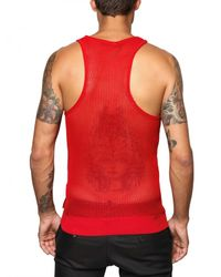 DSquared² | Red Cotton Knit Net Tank Top for Men | Lyst