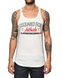 DSquared² - White Cotton Jersey Hot Muscle Tank Top for Men - Lyst