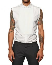 DSquared² | White Cotton Poplin Sleeveless Shirt for Men | Lyst