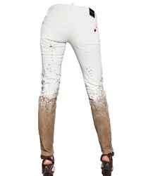 DSquared² - White Mud Effect Super Slim Bull Jeans - Lyst
