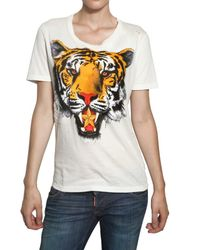 DSquared² - White Tiger Print Cotton Jersey T-shirt - Lyst