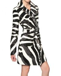 DSquared² | Multicolor Zebra Print Ponyskin Trench Coat | Lyst