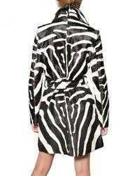 DSquared² | Multicolor Zebra Print Ponyskin Trench Coat | Lyst
