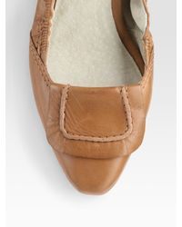 Elizabeth and James | Brown Leather Ballet Flats | Lyst