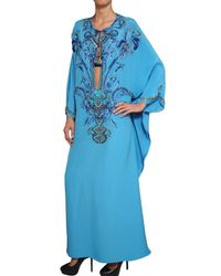 Emilio Pucci | Blue Embroidered Silk Cady Kaftan Dress | Lyst