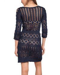 Emilio Pucci - Blue Cotton Crochet Dress - Lyst