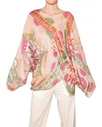 Emilio Pucci - Multicolor Printed Matt Silk Satin Kaftan Top - Lyst