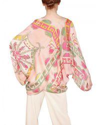 Emilio Pucci | Pink Printed Matt Silk Satin Kaftan Top | Lyst