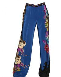 Etro | Blue Floral Print Crepe De Chine Trousers | Lyst