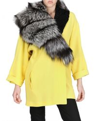 Fausto Puglisi | Yellow Astrakhan and Silver Fox Fur Wool Crepe | Lyst