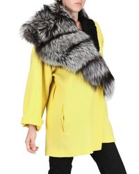 Fausto Puglisi - Yellow Astrakhan and Silver Fox Fur Wool Crepe - Lyst