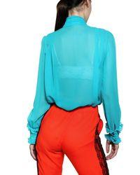 Francesco Scognamiglio - Blue Ruffled Silk Chiffon Shirt - Lyst