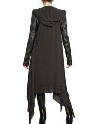 Gareth Pugh - Black Leather Sleeves Silk Chiffon Coat - Lyst