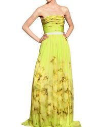 Giambattista Valli | Yellow Flower Printed Silk Chiffon Long Dress | Lyst