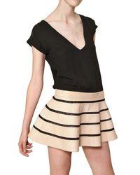 Jay Ahr - Black Silk Georgette & Nappa Leather Dress - Lyst