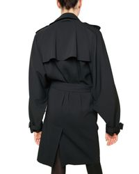 Jean Paul Gaultier | Black Rayon Stretch Crepe Trench Coat | Lyst