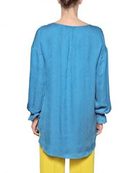 Jo No Fui - Blue Crepon Silk Satin Long Shirt - Lyst