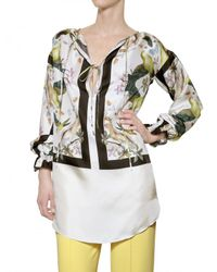 Jo No Fui | White Foulard Printed Satin Twill Shirt | Lyst