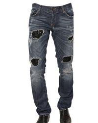 John Richmond | Blue 19cm Destroyed Strass Denim Jeans for Men | Lyst