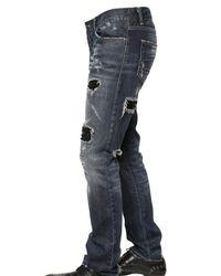 John Richmond - Blue 19cm Destroyed Strass Denim Jeans for Men - Lyst