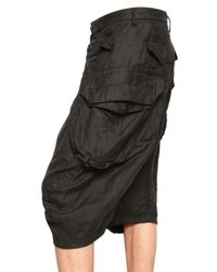 Julius | Black Bamboo Twill Cargo Shorts for Men | Lyst