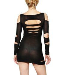 Just Cavalli - Black Cut Out Knit Stretch Dress - Lyst